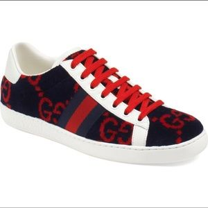 GUCCI new ace velvet sneakers 9.5